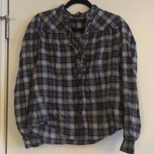 Zara plaid navy blue ruffle shirt xl